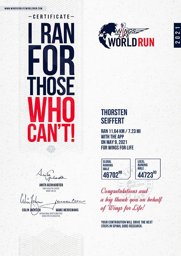 Zertifikat Spendenlauf Wings For Life World Run 2021